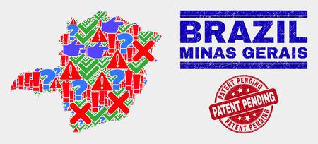 Sign Mosaic Minas Gerais State map and seal stamps. Red round Patent Pending scratched seal. Colored Minas Gerais State map mosaic of different randomized icons. Vector abstract collage. Illustration