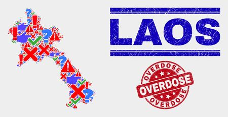 Symbol Mosaic Laos map and seal stamps. Red round Overdose distress seal. Bright Laos map mosaic of different random items. Vector abstract collage. Illustration