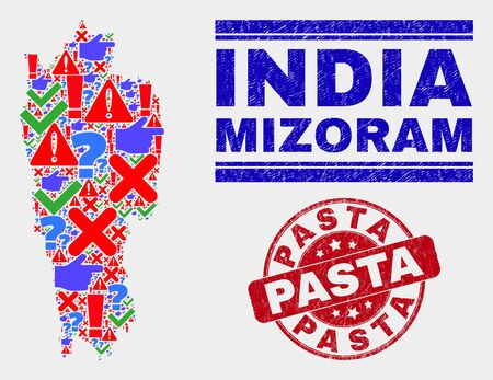 Sign Mosaic Mizoram State map and seal stamps. Red rounded Pasta distress seal. Bright Mizoram State map mosaic of different randomized items. Vector abstract combination.  イラスト・ベクター素材