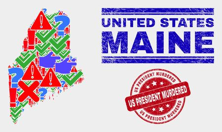 Symbolic Mosaic Maine State map and watermarks. Red round Us President Murdered scratched stamp. Colored Maine State map mosaic of different random symbols. Vector abstract combination. Stock Illustratie