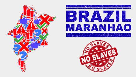 Symbolic Mosaic Maranhao State map and seal stamps. Red rounded No Slaves scratched seal stamp. Colorful Maranhao State map mosaic of different scattered symbols. Vector abstract combination. Illustration