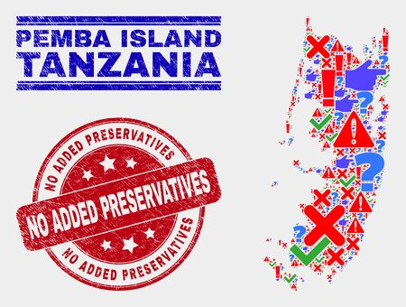 Sign Mosaic Pemba island map and seal stamps. Red round No Added Preservatives scratched seal. Bright Pemba island map mosaic of different scattered symbols. Vector abstract combination.