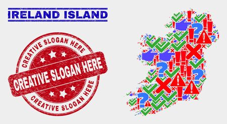 Sign Mosaic Ireland Island map and seal stamps. Red rounded Creative Slogan Here grunge seal. Colorful Ireland Island map mosaic of different random icons. Vector abstract combination.
