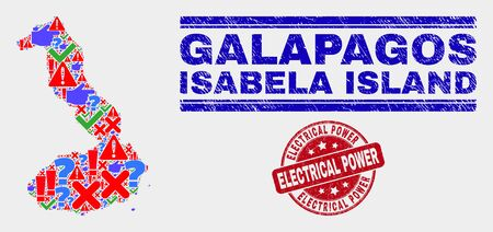 Symbol Mosaic Isabela Island of Galapagos map and seal stamps. Red rounded Electrical Power distress seal stamp. Colored Isabela Island of Galapagos map mosaic of different scattered icons.