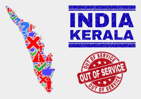 Symbolic Mosaic Kerala State map and seal stamps. Red rounded Out of Service distress seal stamp. Bright Kerala State map mosaic of different randomized elements. Vector abstract combination.