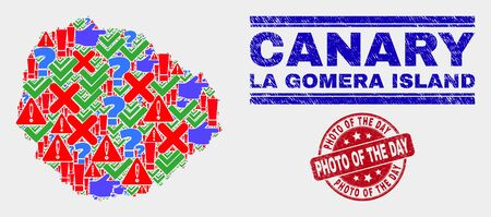 Symbolic Mosaic La Gomera Island map and seal stamps. Red round Photo of the Day textured seal. Bright La Gomera Island map mosaic of different scattered icons. Vector abstract composition.