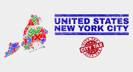 Symbolic Mosaic New York City map and seal stamps. Red rounded City Tax grunge seal. Colored New York City map mosaic of different randomized symbols. Vector abstract combination.  イラスト・ベクター素材