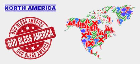 Symbol Mosaic North America map and stamps. Red round God Bless America grunge watermark. Colorful North America map mosaic of different randomized items. Vector abstract combination.