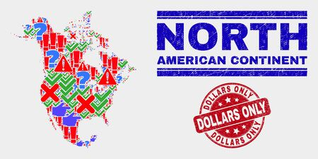 Symbolic Mosaic North America v2 map and stamps. Red round Dollars Only textured watermark. Bright North America v2 map mosaic of different random items. Vector abstract composition.