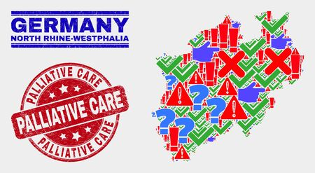 Sign Mosaic North Rhine-Westphalia Land map and seal stamps. Red rounded Palliative Care distress watermark. Colored North Rhine-Westphalia Land map mosaic of different scattered elements. Illusztráció