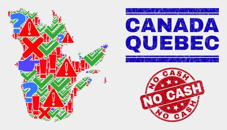 Symbolic Mosaic Quebec Province map and seal stamps. Red round No Cash textured seal stamp. Colored Quebec Province map mosaic of different random icons. Vector abstract composition. Reklamní fotografie - 128791585