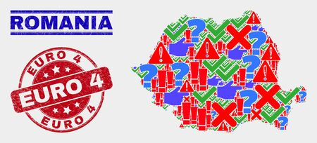 Symbolic Mosaic Romania map and watermarks. Red round Euro 4 scratched watermark. Bright Romania map mosaic of different scattered icons. Vector abstract composition.