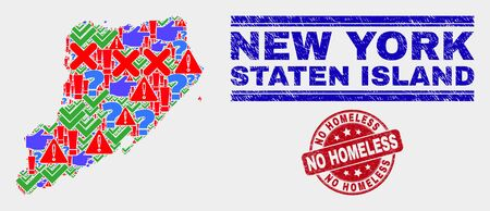 Symbolic Mosaic Staten Island map and seal stamps. Red rounded No Homeless distress seal stamp. Colored Staten Island map mosaic of different random icons. Vector abstract collage.