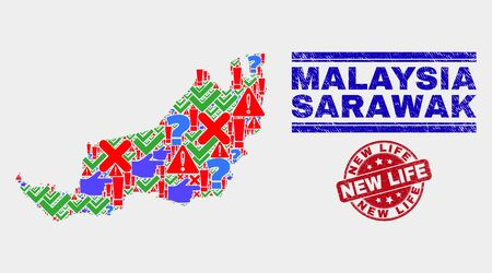Sign Mosaic Sarawak State map and seal stamps. Red round New Life grunge seal stamp. Bright Sarawak State map mosaic of different random icons. Vector abstract combination.