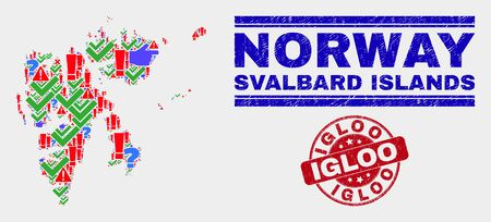 Sign Mosaic Svalbard Islands map and seal stamps. Red round Igloo grunge seal stamp. Colored Svalbard Islands map mosaic of different randomized elements. Vector abstract composition.