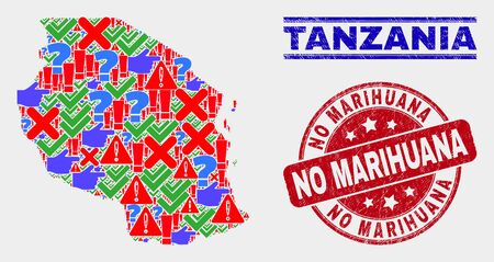 Symbolic Mosaic Tanzania map and seals. Red round No Marihuana scratched watermark. Colorful Tanzania map mosaic of different random elements. Vector abstract composition.
