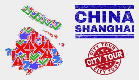 Symbolic Mosaic Shanghai City map and seal stamps. Red rounded City Tour textured seal stamp. Bright Shanghai City map mosaic of different random symbols. Vector abstract combination.