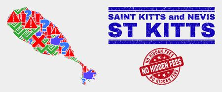 Symbolic Mosaic St Kitts Island map and seal stamps. Red round No Hidden Fees grunge seal stamp. Colored St Kitts Island map mosaic of different randomized icons. Vector abstract combination.