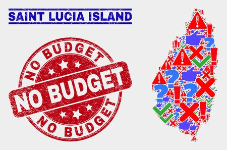 Symbol Mosaic Saint Lucia Island map and seals. Red rounded No Budget scratched watermark. Colored Saint Lucia Island map mosaic of different random symbols. Vector abstract composition.