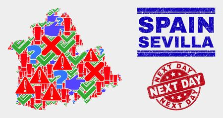 Symbolic Mosaic Sevilla Province map and seal stamps. Red round Next Day textured seal stamp. Colorful Sevilla Province map mosaic of different random symbols. Vector abstract combination.