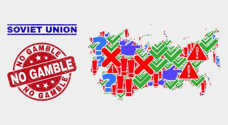 Symbol Mosaic Soviet Union map and seal stamps. Red rounded No Gamble grunge seal. Colorful Soviet Union map mosaic of different scattered symbols. Vector abstract collage.