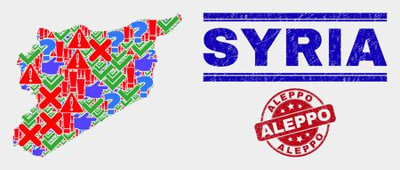 Sign Mosaic Syria map and seal stamps. Red rounded Aleppo scratched seal. Colored Syria map mosaic of different randomized icons. Vector abstract collage.