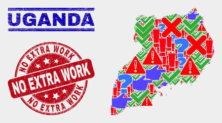 Symbol Mosaic Uganda map and seal stamps. Red round No Extra Work scratched seal. Colorful Uganda map mosaic of different random symbols. Vector abstract combination.