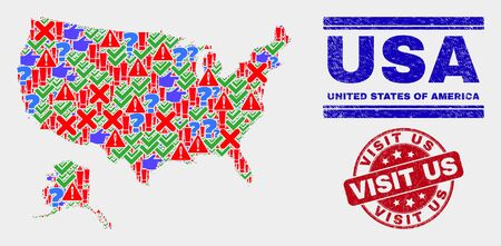 Sign Mosaic USA with Alaska map and seal stamps. Red round Visit Us scratched seal. Colorful USA with Alaska map mosaic of different randomized elements. Vector abstract collage. Иллюстрация