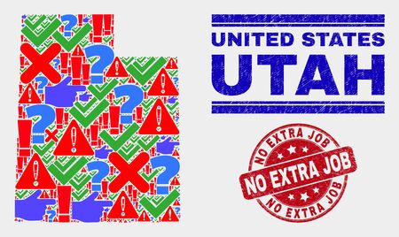 Symbolic Mosaic Utah State map and seal stamps. Red rounded No Extra Job grunge seal stamp. Bright Utah State map mosaic of different random icons. Vector abstract combination. Ilustração