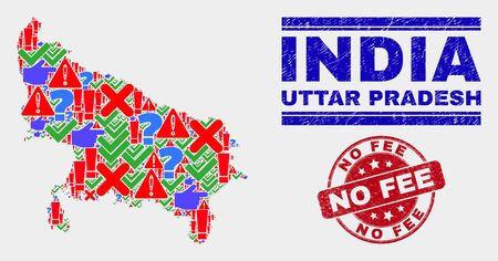 Symbolic Mosaic Uttar Pradesh State map and seal stamps. Red rounded No Fee distress seal. Colorful Uttar Pradesh State map mosaic of different random icons. Vector abstract combination. Ilustração