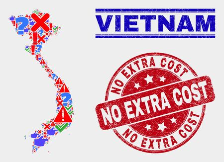 Symbol Mosaic Vietnam map and seal stamps. Red rounded No Extra Cost distress seal stamp. Bright Vietnam map mosaic of different scattered icons. Vector abstract composition.