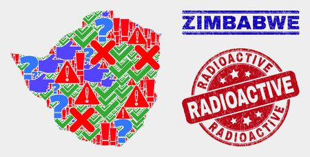 Symbol Mosaic Zimbabwe map and seal stamps. Red rounded Radioactive distress seal stamp. Colorful Zimbabwe map mosaic of different scattered items. Vector abstract composition.