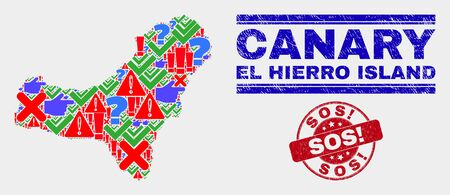 Symbol Mosaic El Hierro Island map and seal stamps. Red rounded Sos! textured seal. Colored El Hierro Island map mosaic of different scattered items. Vector abstract collage.