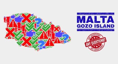 Symbol Mosaic Gozo Island map and seal stamps. Red round Any Questions? textured seal stamp. Colored Gozo Island map mosaic of different randomized icons. Vector abstract combination. 일러스트
