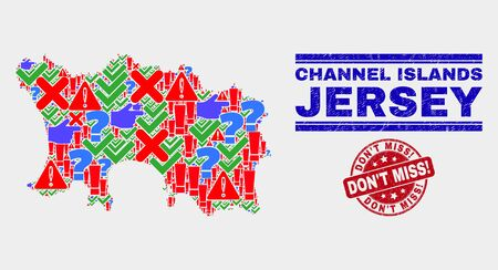 Sign Mosaic Jersey Island map and seal stamps. Red rounded Don'T Miss! distress seal. Colorful Jersey Island map mosaic of different scattered icons. Vector abstract combination.