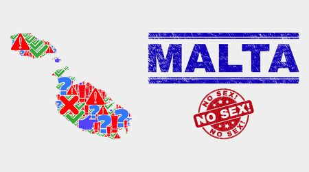 Symbolic Mosaic Malta map and seal stamps. Red round No Sex! scratched seal. Colorful Malta map mosaic of different random elements. Vector abstract combination. 일러스트