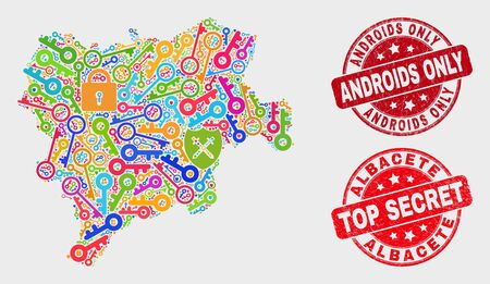 Safety Albacete Province map and stamps. Red round Top Secret and Androids Only scratched seals. Bright Albacete Province map mosaic of different safety icons. Vector collage for keeping purposes.