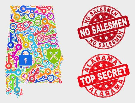 Safety Alabama State map and seals. Red round Top Secret and No Salesmen scratched seal stamps. Bright Alabama State map mosaic of different safety icons. Vector composition for safety purposes. Foto de archivo - 128791860