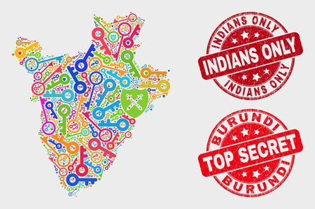 Security Burundi map and seal stamps. Red rounded Top Secret and Indians Only grunge seal stamps. Bright Burundi map mosaic of different keeper items. Vector collage for security purposes.