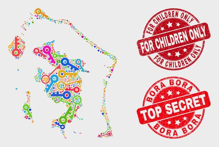 Protection Bora-Bora map and stamps. Red rounded Top Secret and For Children Only textured stamps. Bright Bora-Bora map mosaic of different guard elements. Vector collage for security purposes. Иллюстрация