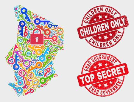 Safeguard Chad map and seal stamps. Red round Top Secret and Children Only textured seal stamps. Bright Chad map mosaic of different safeguard symbols. Vector combination for keeping purposes.