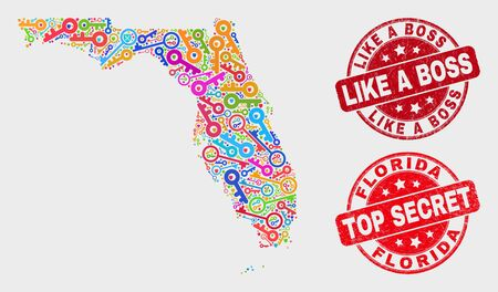 Passkey Florida State map and seal stamps. Red rounded Top Secret and Like a Boss scratched seal stamps. Bright Florida State map mosaic of different lock items. Vector composition for guard purposes. Иллюстрация