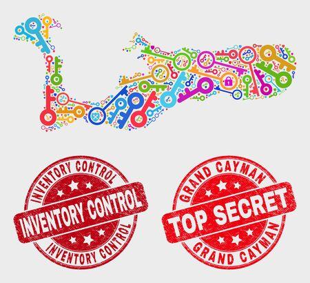 Sicurezza Mappa e sigilli dell'isola di Grand Cayman. Timbri con sigillo grunge Top Secret e controllo inventario arrotondati rossi. Mosaico luminoso della mappa dell'isola di Grand Cayman di diverse icone chiave. Vettoriali