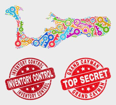 Safety Grand Cayman Island map and seals. Red rounded Top Secret and Inventory Control grunge seal stamps. Bright Grand Cayman Island map mosaic of different key icons. Illustration