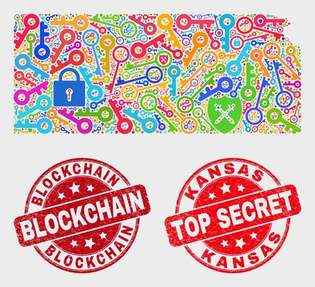 Guard Kansas State map and seals. Red rounded Top Secret and Blockchain scratched seals. Colored Kansas State map mosaic of different key items. Vector composition for guard purposes.