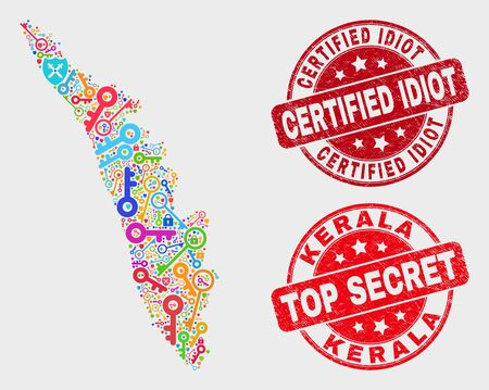 Safety Kerala State map and seal stamps. Red rounded Top Secret and Certified Idiot distress seal stamps. Colored Kerala State map mosaic of different safety items.
