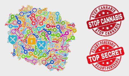 Karte und Briefmarken der Provinz Kujawien-Pommern. Rote runde Top Secret und Stop Cannabis zerkratzte Siegelstempel. Buntes Kartenmosaik der Provinz Kujawien-Pommern aus verschiedenen Schildelementen.
