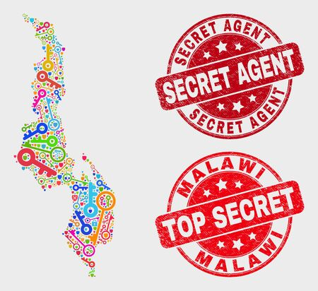 Safeguard Malawi map and stamps. Red rounded Top Secret and Secret Agent scratched stamps. Bright Malawi map mosaic of different shield items. Vector combination for guard purposes. 스톡 콘텐츠 - 128842680