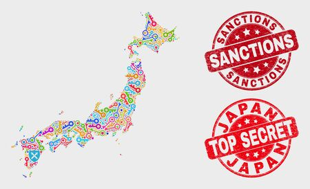 Safeguard Japan map and watermarks. Red round Top Secret and Sanctions textured watermarks. Bright Japan map mosaic of different security symbols. Vector collage for security purposes. Ilustrace