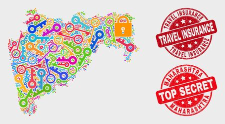 Security Maharashtra State map and stamps. Red rounded Top Secret and Travel Insurance distress watermarks. Colorful Maharashtra State map mosaic of different security items. Иллюстрация